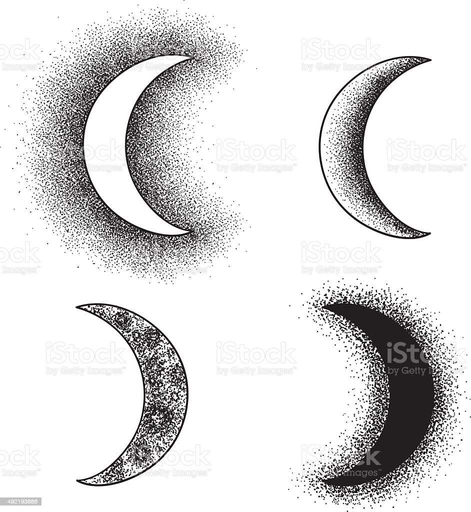 Hand drawn moon phases silhouettes vector art illustration