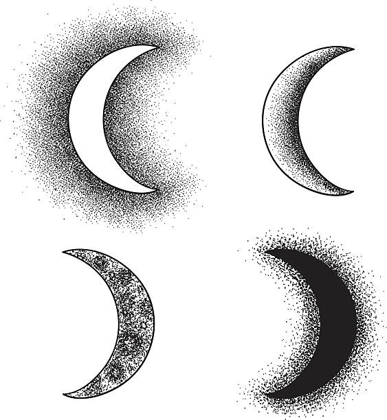 hand drawn moon phases silhouettes - moon stock illustrations, clip art, cartoons, & icons