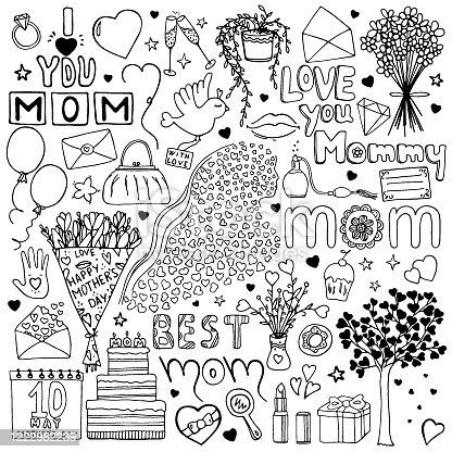 Hand drawn Mother`s day doodle set. Love you Mommy, best mom. Woman, bird, flower, heart, cake, present, envelope, bouquet, tree, calendar, lipstick, perfume, bag, ring, plant, mirror, lips, stemware