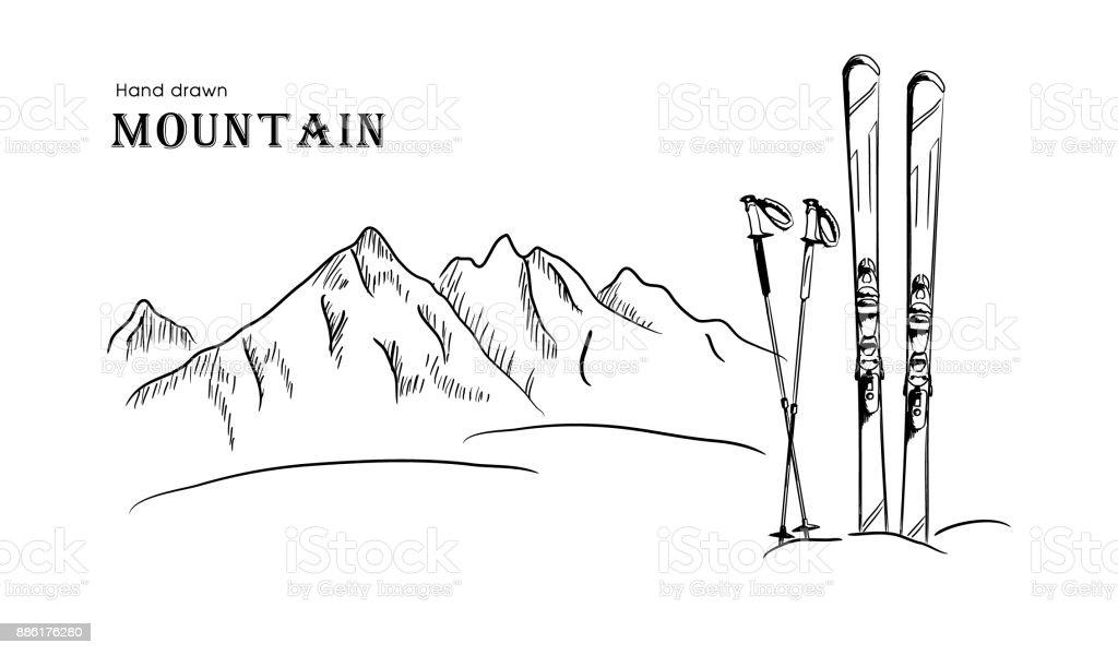Hand gezeichnet Berg und ski Grafik schwarz weiße Landschaft-Vektor-illustration – Vektorgrafik