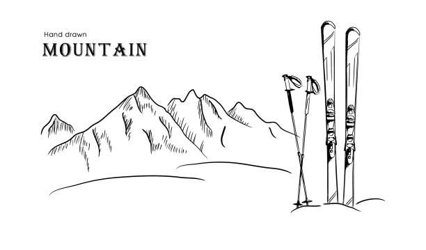 hand gezeichnet berg und ski grafik schwarz weiße landschaft-vektor-illustration - skifahren stock-grafiken, -clipart, -cartoons und -symbole