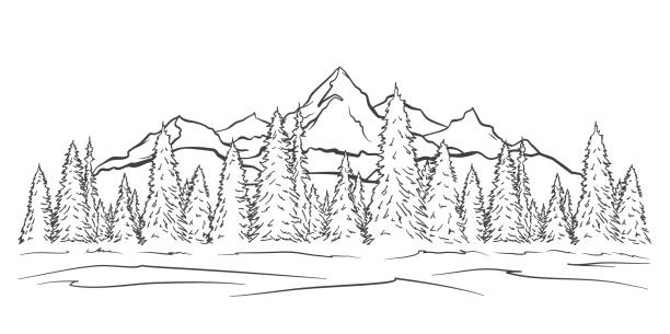 Hand drawn Mountains sketch landscape with peaks and pine forest. Line design Vector illustration: Hand drawn Mountains sketch landscape with peaks and pine forest. Line design adventure patterns stock illustrations