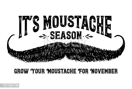 istock Hand drawn moustache with text it's Moustache season, Vector 1021054138