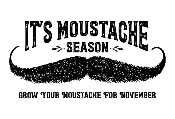 ilustrações, clipart, desenhos animados e ícones de bigode desenhado de mão com texto é temporada de bigode, vetor - bigode
