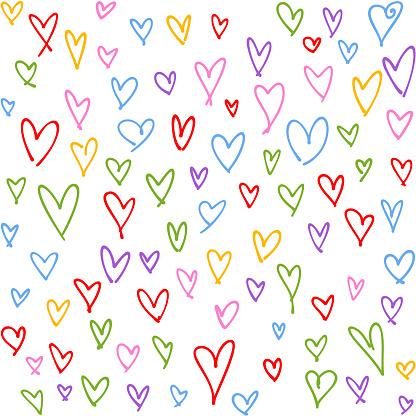 Hand drawn multi colored hearts seamless pattern. Valentine's, Mother's day, birthday card, wallpaper or gift wrap design.