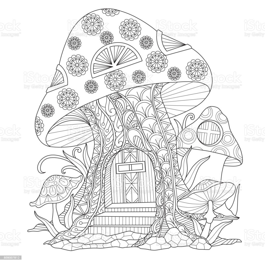 Hand drawn mushroom house for adult coloring page. vector art illustration
