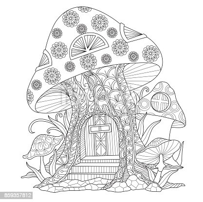 Hand Drawn Mushroom House For Adult Coloring Page Stock