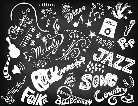 Hand Drawn Music Doodled Elements and Typography.