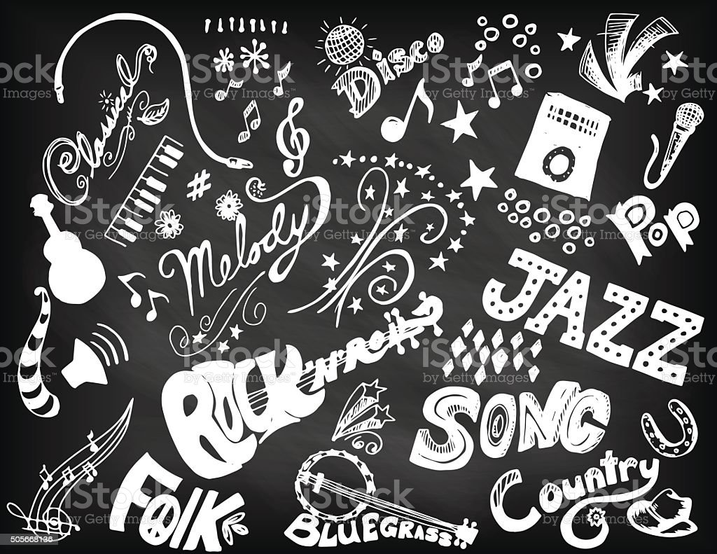 Hand Drawn Music Doodled Elements and Typography. vector art illustration