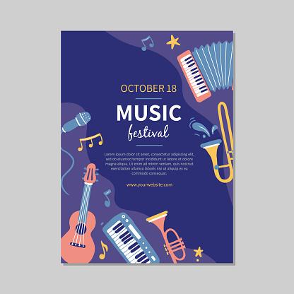 Hand drawn music festival banners
