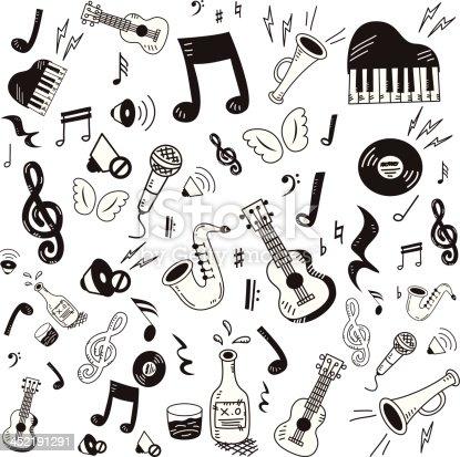 Hand drawn music icon set on white background