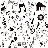 Hand drawn music icon set on white background