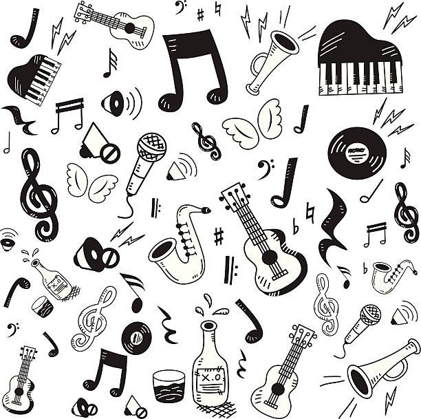 ręcznie rysowane zestaw ikon muzyki - instrument muzyczny stock illustrations