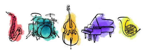 ręcznie rysowane instrumenty muzyczne. orcestra. poziomy baner lub okładka dla mediów społecznościowych. ilustracja wektorowa w stylu tuszu z plamami akwarelowymi na białym tle. - instrument muzyczny stock illustrations