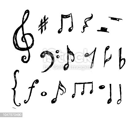 Hand drawn music notes collection vector art