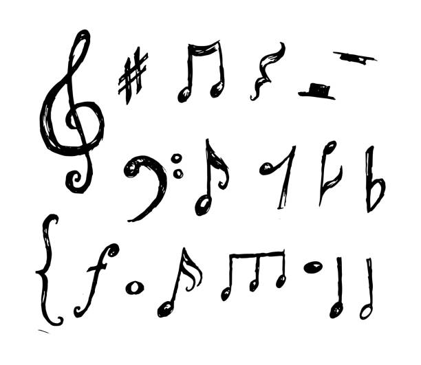 hand drawn music notes collection vector - nuta stock illustrations