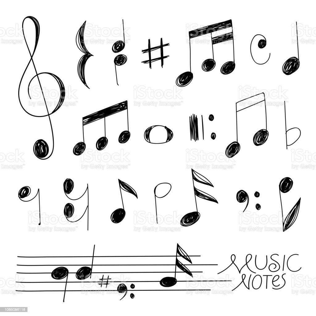 Hand Drawn Music Notes Stock Vector Art More Images Of Abstract