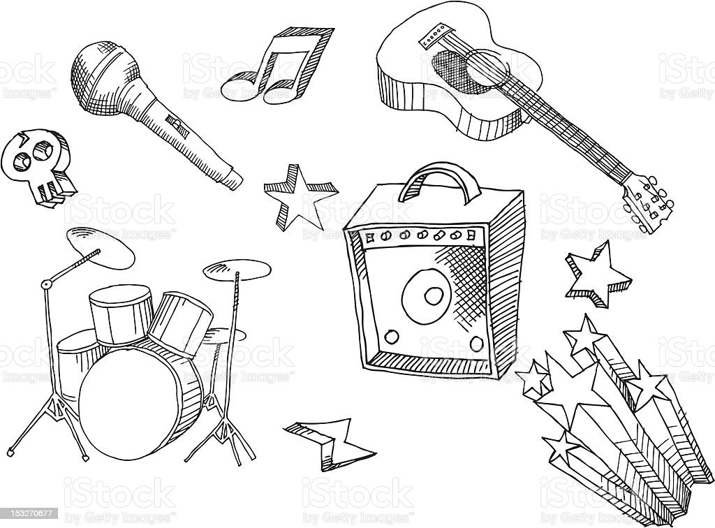 Hand Drawn Music Rock vector art illustration