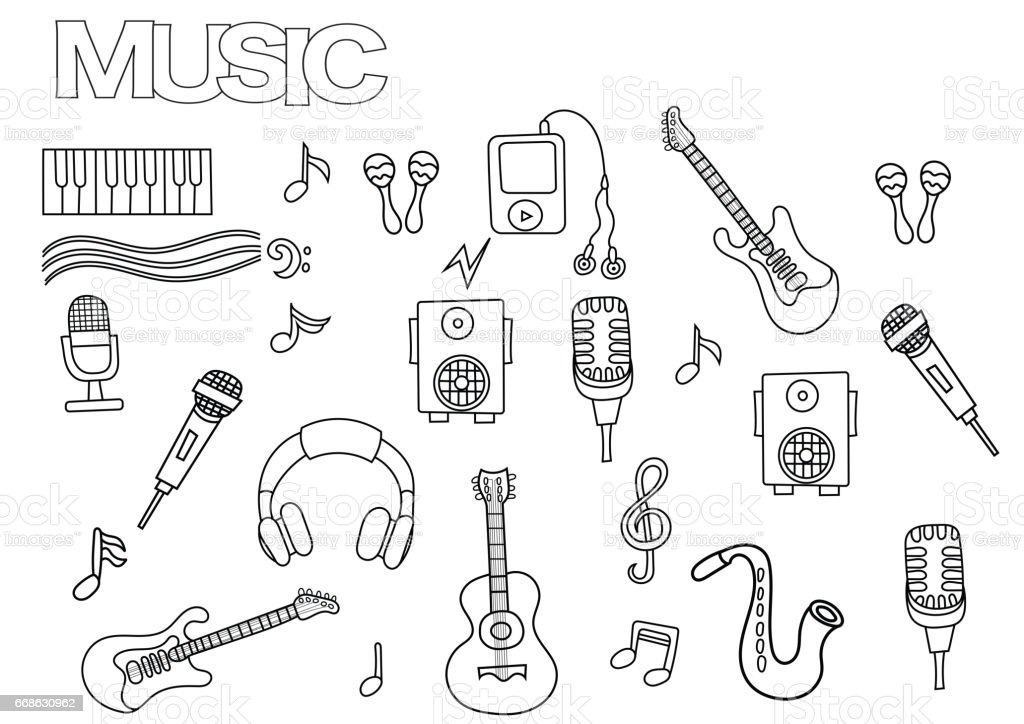 Elle çizilmiş Müzik Seti Boyama Kitabı Sayfası şablonu Anahat Doodle