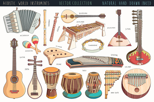 Hand drawn musical instruments collection