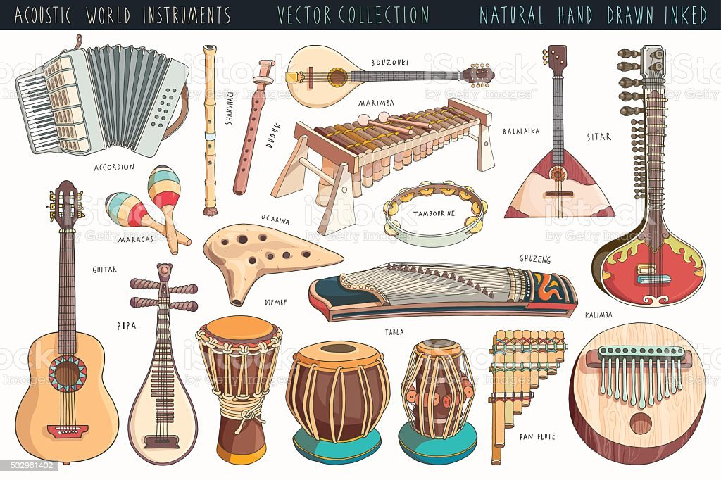 Hand drawn musical instruments collection vector art illustration