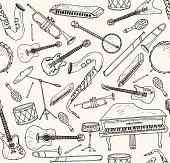 Hand drawn musical instruments set. Vector illustration. Seamless pattern,
