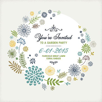 Hand Drawn Naive Style Floral Frame with Invitation Concept