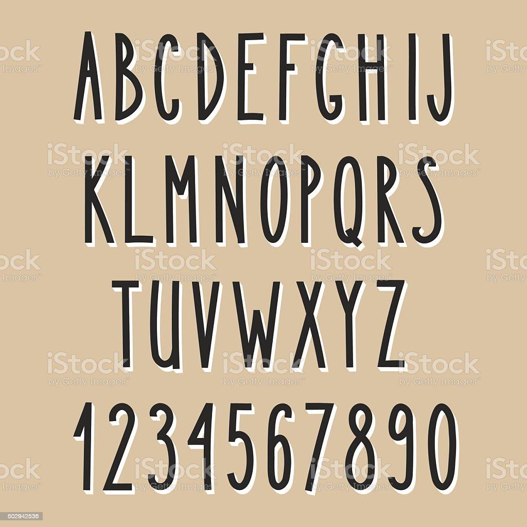 Étroite alphabet dessiné à la main - Illustration vectorielle