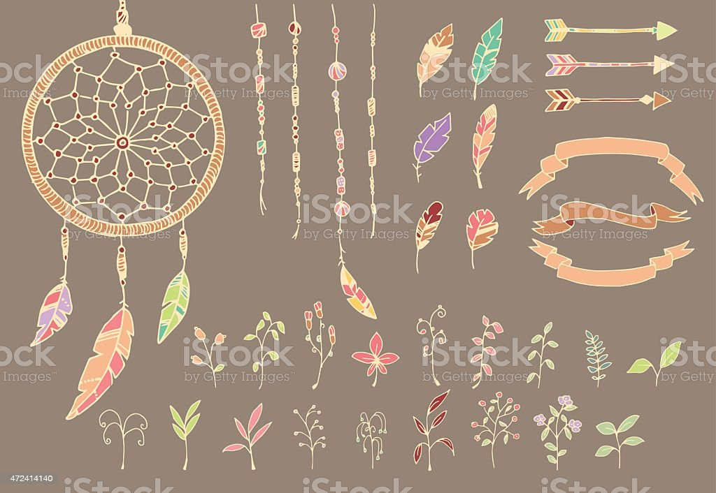Hand drawn native american feathers, dream catcher, beads, arrows, flowers vector art illustration