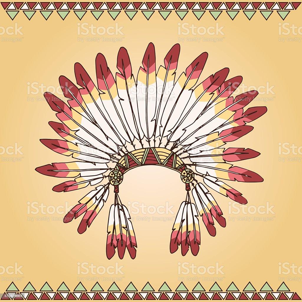 Hand drawn native american indian chief headdress vector art illustration