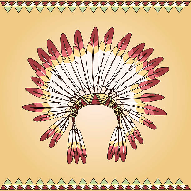 Hand drawn native american indian chief headdress vector art illustration