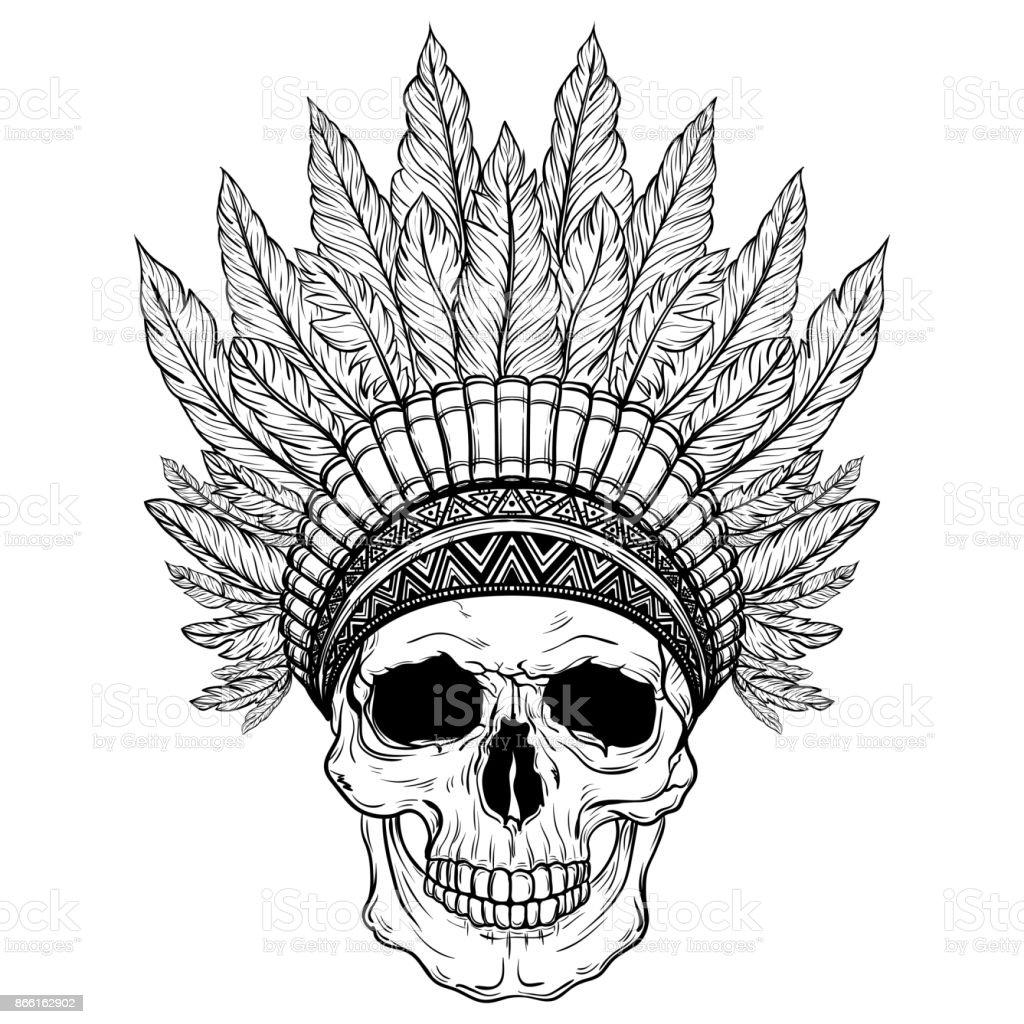 Hand Drawn Native American Indian Headdress With Human