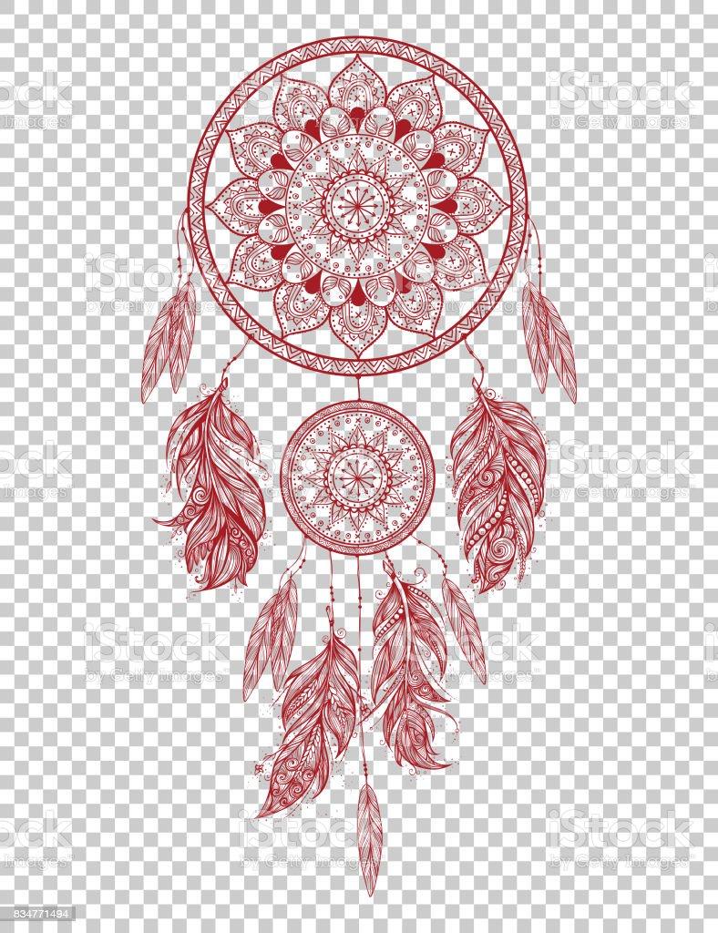Main sur dreamcatcher talisman indien indigène avec des plumes. Illustration de hipster vecteur isolé. - Illustration vectorielle