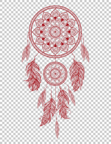 Hand drawn Native American Indian talisman dreamcatcher with feathers. Vector hipster illustration isolated. Hand drawn Native American Indian talisman dreamcatcher with feathers. Vector hipster illustration isolated. Ethnic design, boho chic, tribal symbol. dreamcatcher stock illustrations