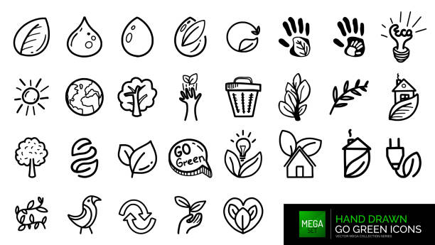bildbanksillustrationer, clip art samt tecknat material och ikoner med handritade natural go green doodle ikoner - recycling heart