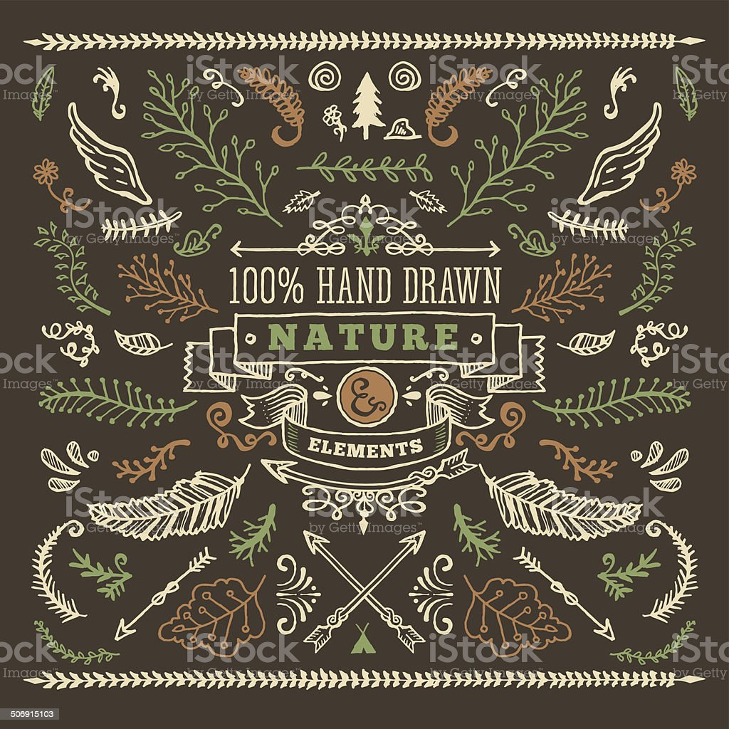 Hand Drawn Nature Elements vector art illustration