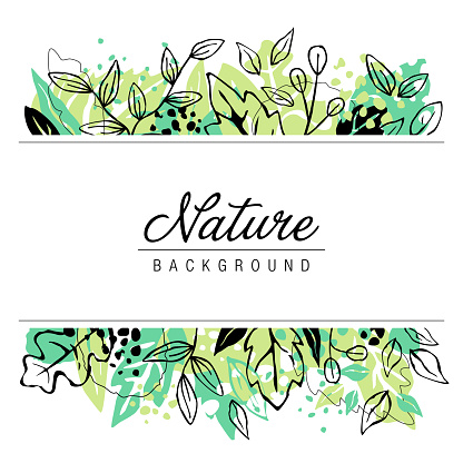 Hand Drawn Nature Leaves Frame Background