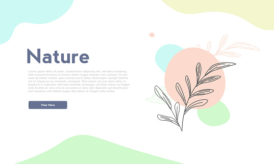 Hand drawn nature template landing page Design