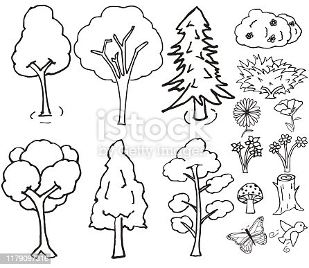 Set of hand drawn trees and other nature elements
