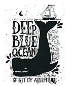 Hand drawn nautical vintage label with a whale, boat, lettering