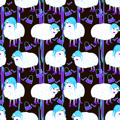 Hand drawn neon fashionista with blue hair sheeps on black background.