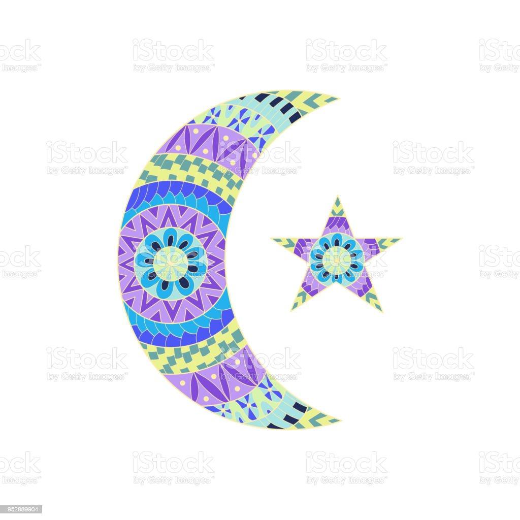 El çekilmiş Yeni Ay Ve Yıldız Için Anti Stres Boyama Sayfası Boyama