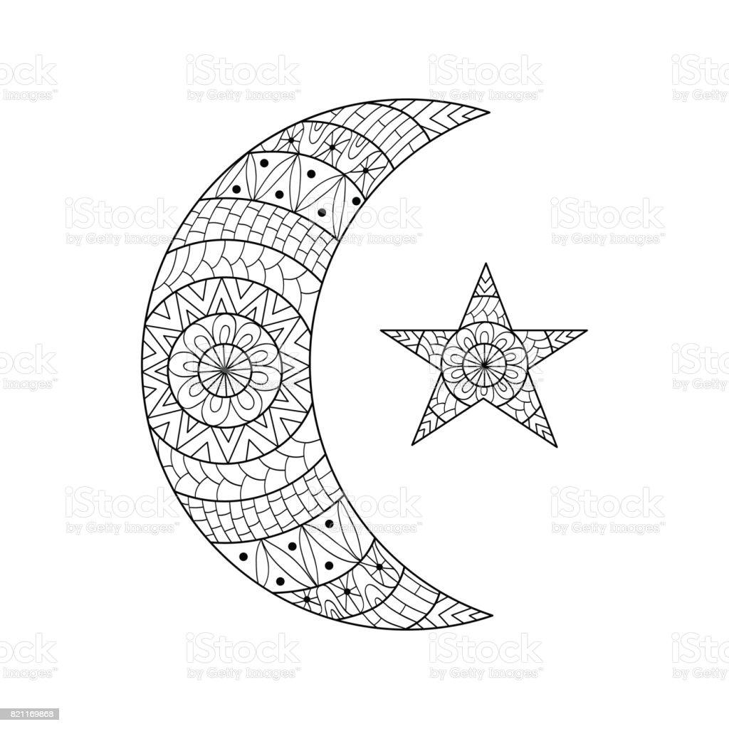 El çekilmiş Yeni Ay Ve Yıldız Için Anti Stres Boyama Sayfası Stok