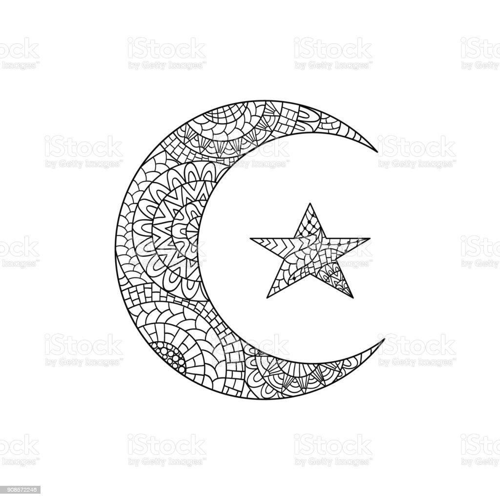 Mão desenhada nova lua e estrela para anti stress coloração página de vídeo. - ilustração de arte em vetor