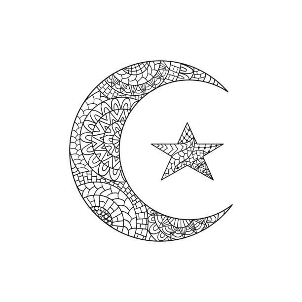 hand drawn new moon and star for anti stress colouring page. - moon tattoos stock illustrations, clip art, cartoons, & icons