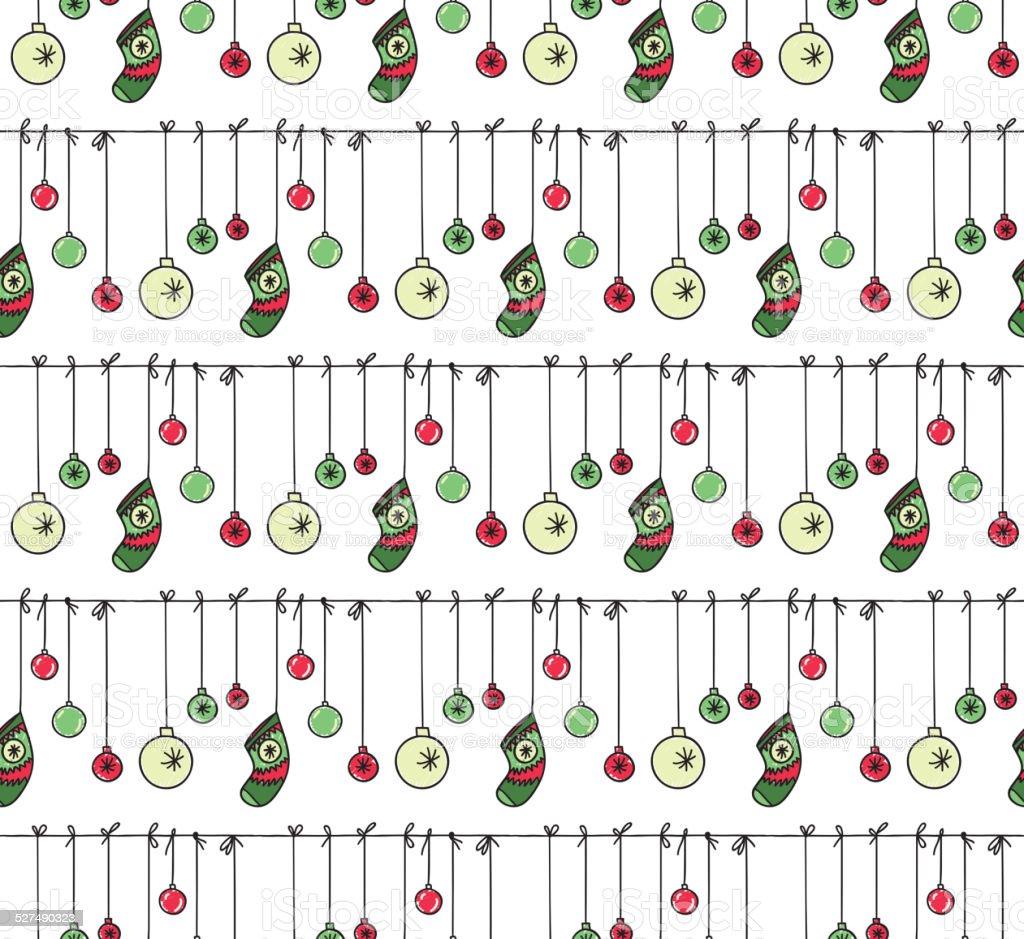 Ręcznie Rysowane Nowy Rok I święta Bożego Narodzenia Wzór Stockowe
