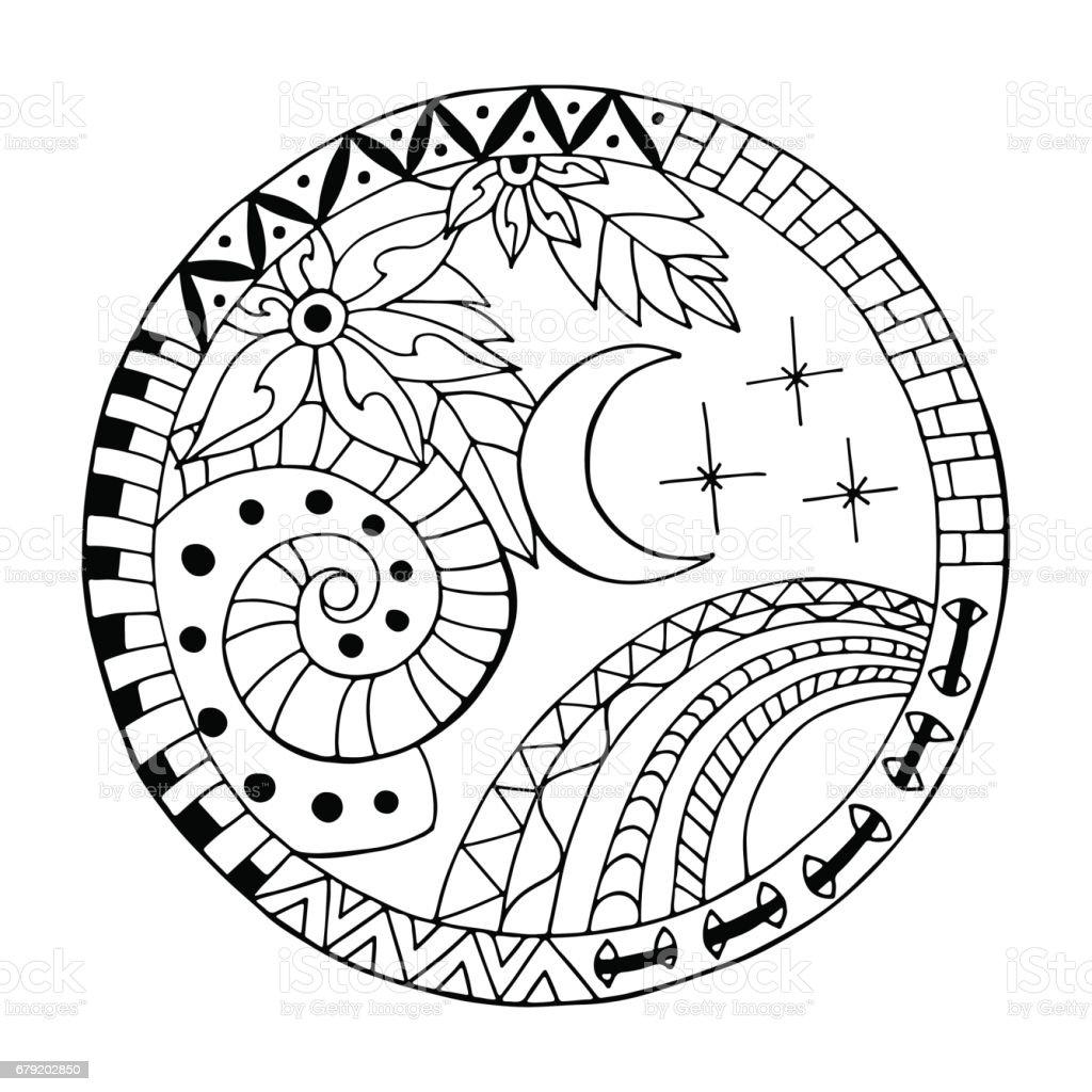 Main sur mandala cercle de nuit. main sur mandala cercle de nuit – cliparts vectoriels et plus d'images de allumer libre de droits