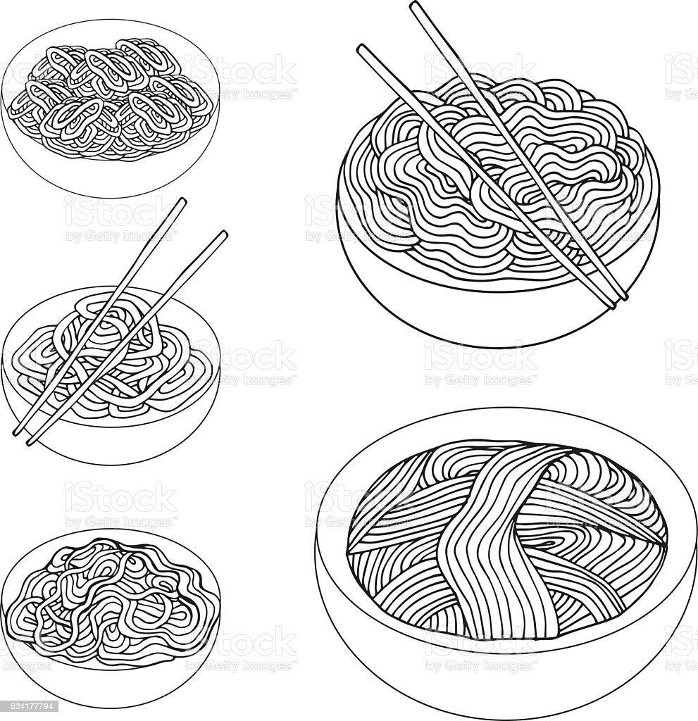 Hand drawn Noodles set Asian Cuisine vector art illustration