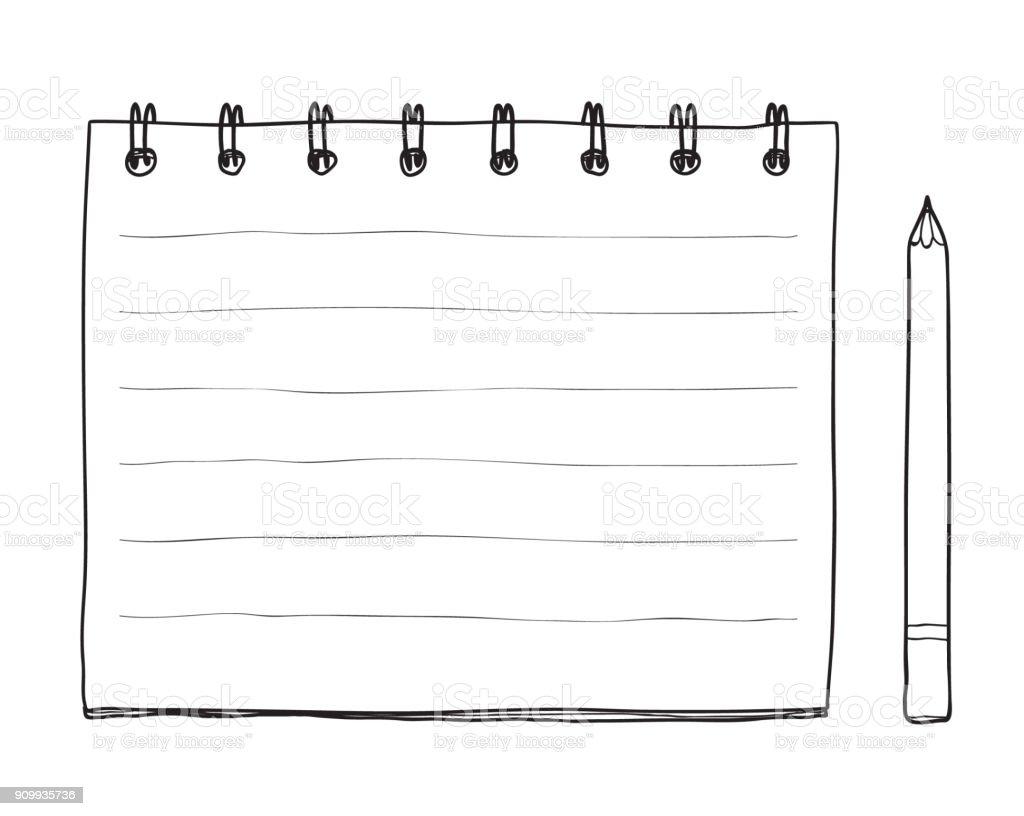 手描きのノートと鉛筆かわいいライン アート イラスト いたずら書きの