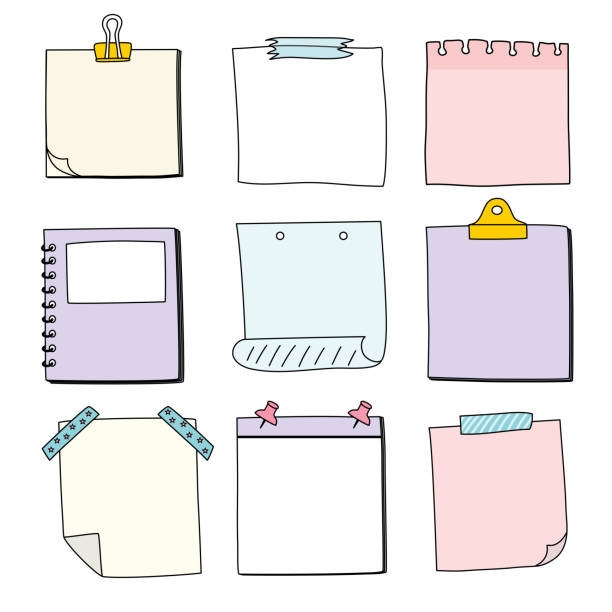 ręcznie rysowany papier notatek, wiadomości karteczki samoprzylepne, wektor / ilustracja - notes stock illustrations